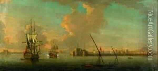 Animated Harbor View With Distant Minarets Oil Painting - Ebenezer Wake Cook