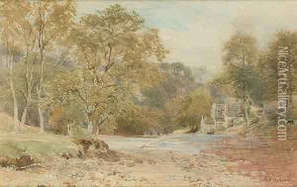 A Cottage By A River Oil Painting - Ebenezer Wake Cook