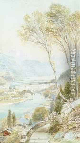 An Alpine Town By A River Oil Painting - Ebenezer Wake Cook