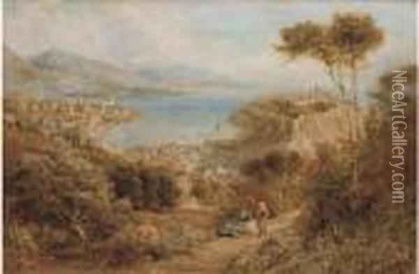 Monte Carlo From The Hills Above Oil Painting - Ebenezer Wake Cook