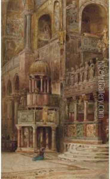 In The Basilico San Marco, Venice Oil Painting - Ebenezer Wake Cook