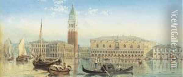 The Doge's Palace And The Campanile Of St. Mark's From The Grand Canal, Venice Oil Painting - Ebenezer Wake Cook