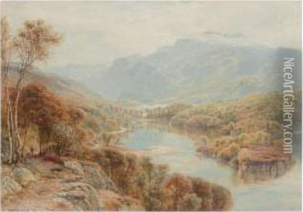 Loch Katrine From Above The Silver Strand Oil Painting - Ebenezer Wake Cook
