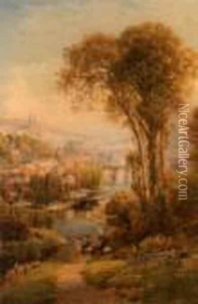 River Vire A St Lo Oil Painting - Ebenezer Wake Cook