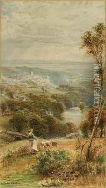 Richmond, North Yorks; Rydal Water, Cumbria, A Pair Oil Painting - Ebenezer Wake Cook