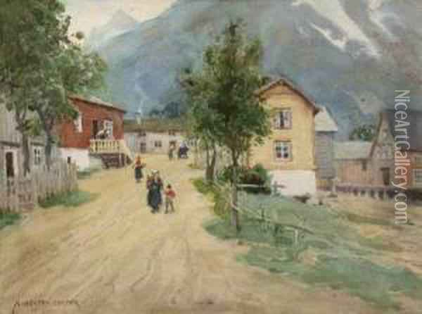 Andalsnes In Romsdal, Norway Oil Painting - Alfred Heaton Cooper