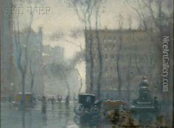 Rainy Day, New York City Oil Painting - Paul Cornoyer