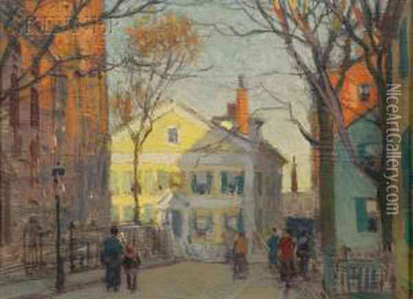 New England Street View, Possibly Cape Ann Oil Painting - Paul Cornoyer