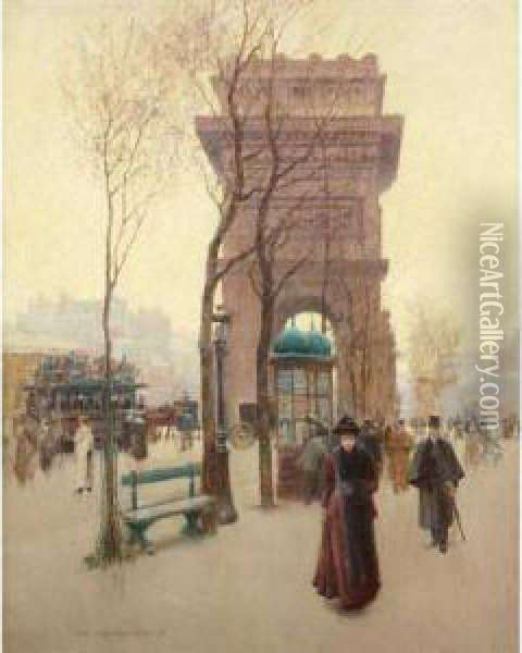 Parisian Boulevard Oil Painting - Paul Cornoyer
