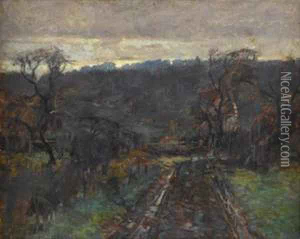 A Road At Dusk Oil Painting - Paul Cornoyer