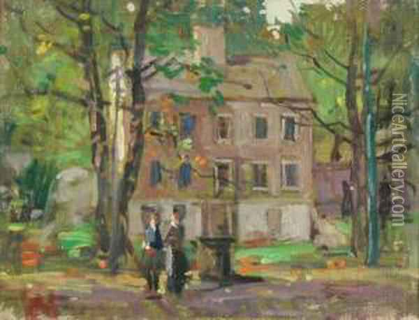 Country Cottage Oil Painting - Paul Cornoyer
