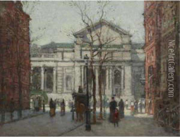 The New York Public Library Oil Painting - Paul Cornoyer