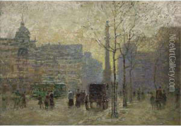 View Of New York At 59th Street Oil Painting - Paul Cornoyer