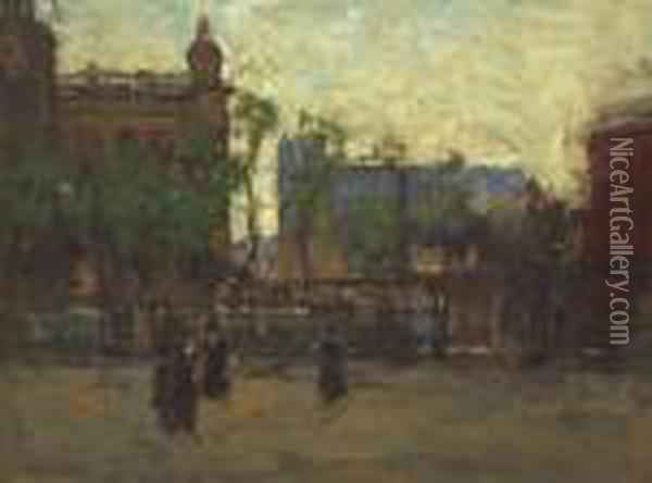 ''early Evening, Madison Square'' Oil Painting - Paul Cornoyer