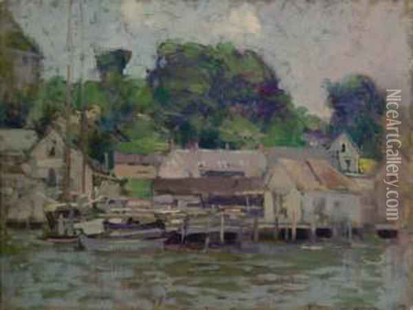 Grey Houses By The Dock Oil Painting - Paul Cornoyer