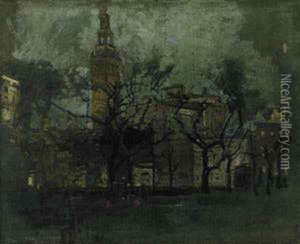 Evening At Madison Square Oil Painting - Paul Cornoyer