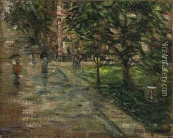 Rainy Street Scene Oil Painting - Paul Cornoyer