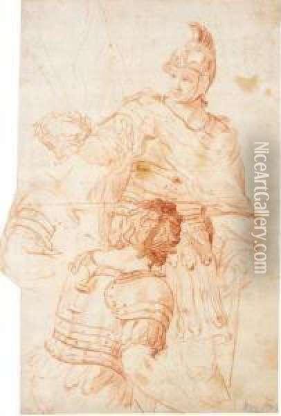 A Roman General Holding A Laurel Crown, And Two Separate Studies Of Another Soldier Oil Painting - Domenico Corvi