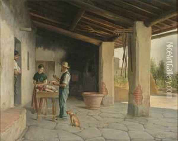 The Travelling Vendor Oil Painting - Oreste Costa