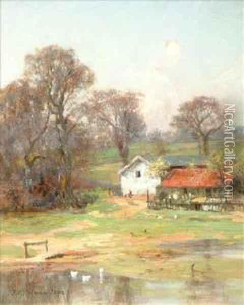 The Farmby The River Side Oil Painting - Frederick George Cotman