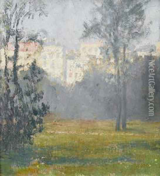 Stadtpark Mit Hauserzeile Oil Painting - Charles Cottet