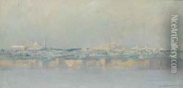 Panoramic View Of Constantinople From Thebosphorus Oil Painting - Charles Cottet