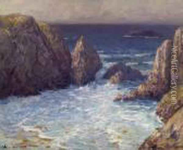 Rocky Coast. Verso Seated Woman In Green. Oil Painting - Charles Cottet