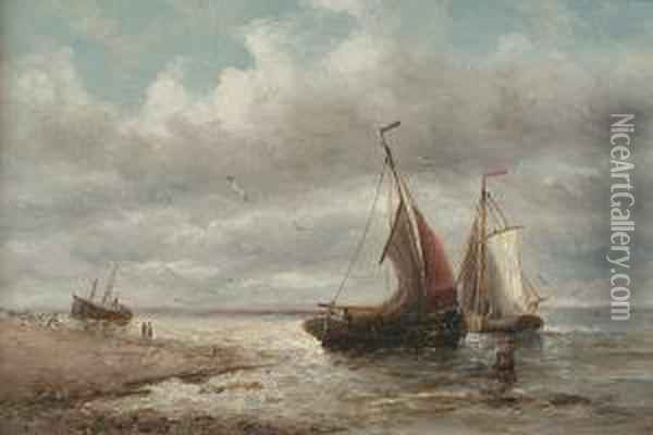 'a Barque In Full Sail Off A Headland' And 'fishing Boats Setting Sail From A Beach' Oil Painting - William Alexander Coulter