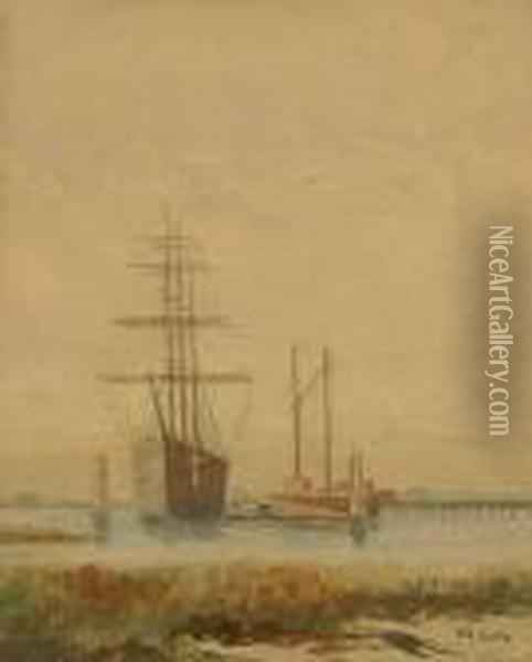 Sail Ships In Harbor S L/r: W.a. Coulter W/c On/p Under Glass Sight: 13.25 X 10.75 Oil Painting - William Alexander Coulter
