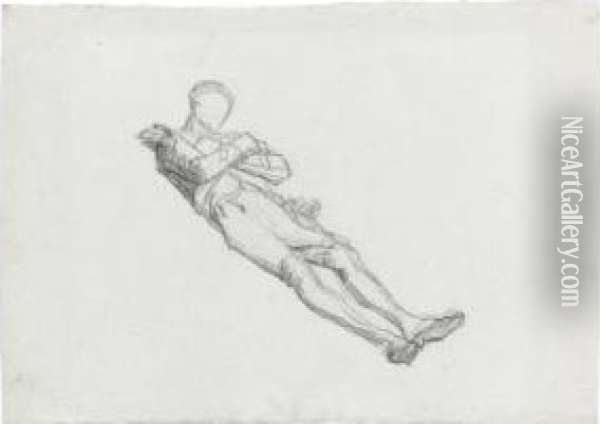 Recto: Study Of A Dead Soldier Verso: The Lower Half Of A Study Of A Male Nude Oil Painting - Thomas Couture
