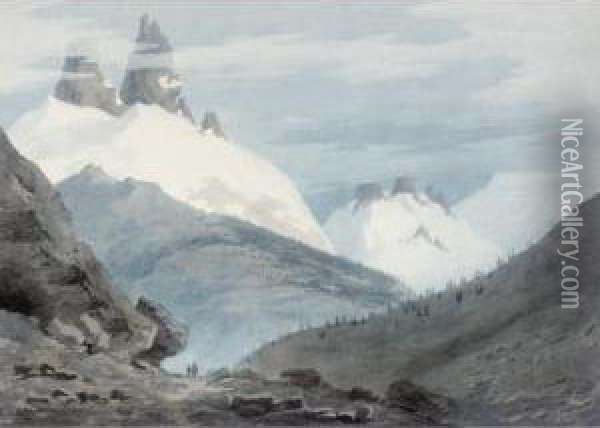 Between Chamonix And Martigny - The Aiguille Verte Oil Painting - John Robert Cozens