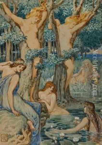 Nyads And Dryads Oil Painting - Walter Crane
