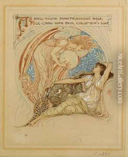 'as Spell-bound Beauty's, Bowered Deep,age-long Was Fair Columbia's Sleep' Oil Painting - Walter Crane