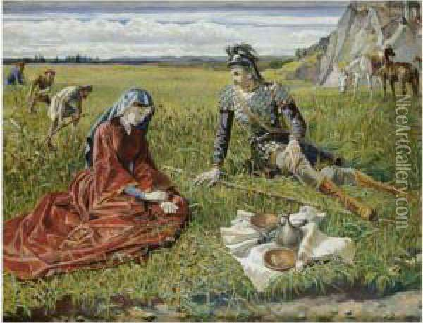 Ruth And Boaz Oil Painting - Walter Crane
