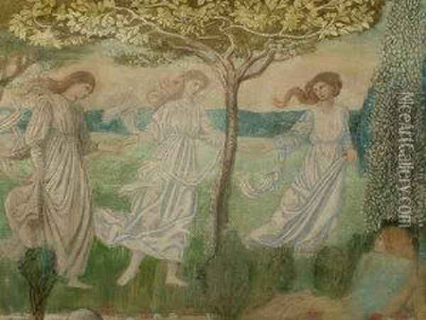 The Three Graces Oil Painting - Walter Crane