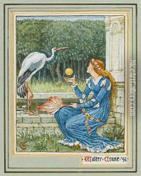 A Girl With A Golden Ball And A Crane Oil Painting - Walter Crane