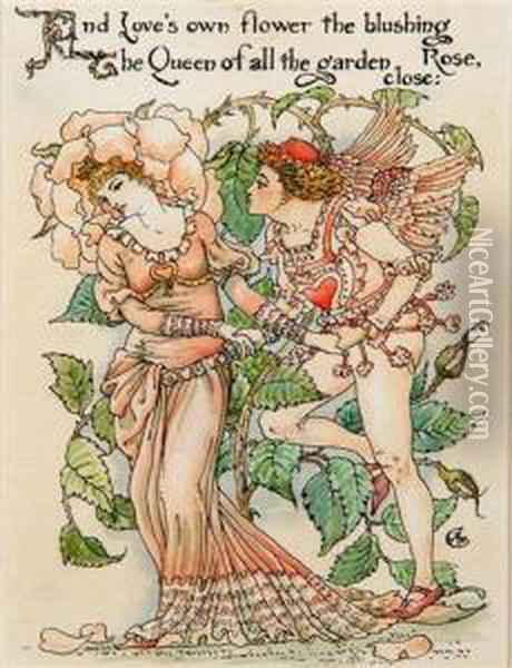 'and Loves Own Flower The Blushing Rose Oil Painting - Walter Crane