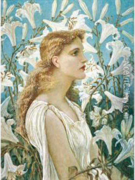 Lilies Oil Painting - Walter Crane