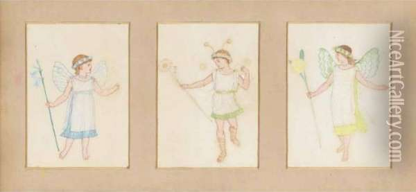 Triptych Of Fairy Designs For The Howard Children's Christmas Play Oil Painting - Walter Crane