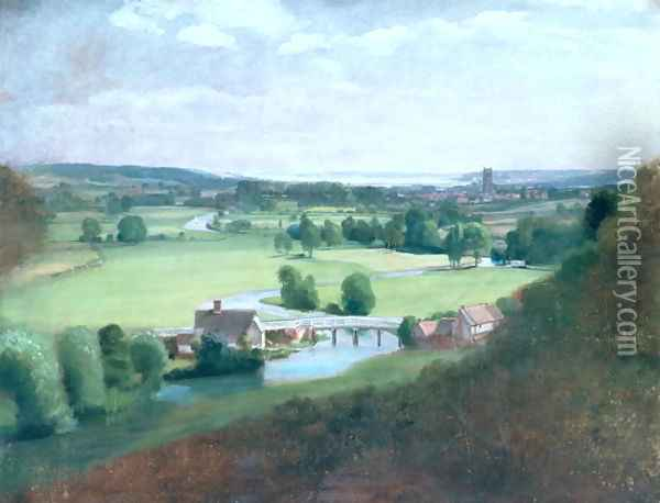 The Valley of the Stour with Dedham in the Distance, 1836-37 Oil Painting - John Constable