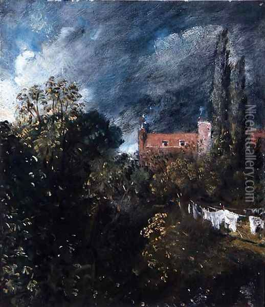 View in a garden with a red house beyond Oil Painting - John Constable