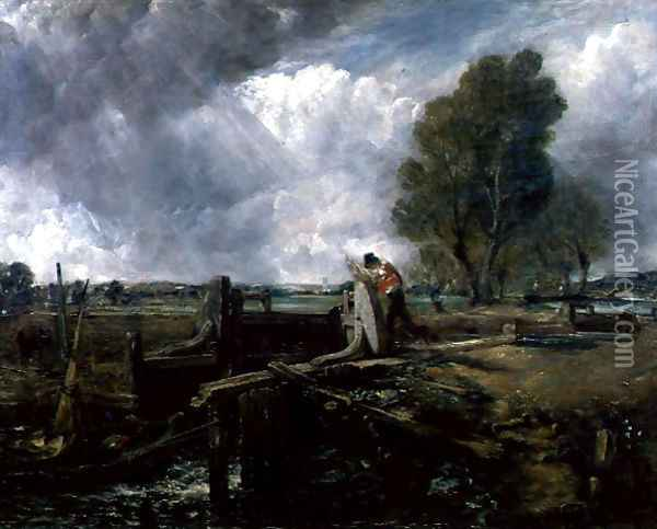 Study of a Boat Passing a Lock, c.1823 Oil Painting - John Constable