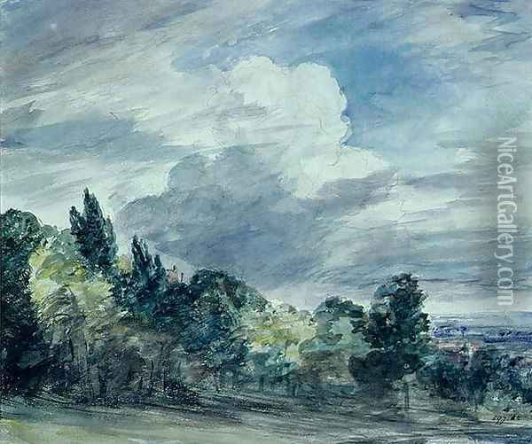 View over a wide landscape, with trees in the foreground, September 1832 Oil Painting - John Constable
