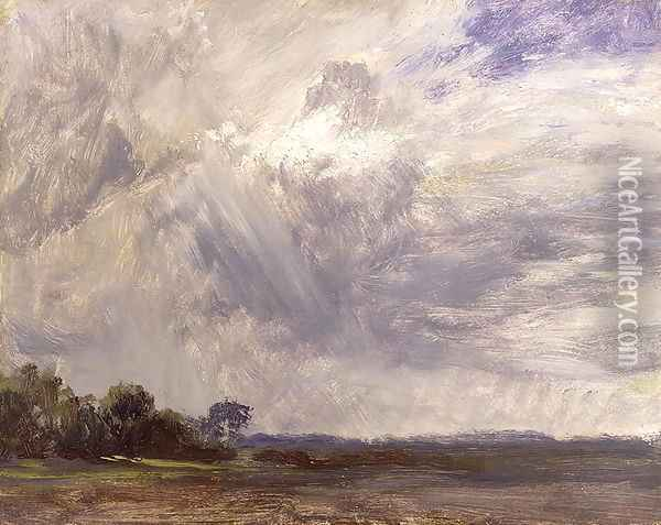 Landscape with Grey Windy Sky, c.1821-30 Oil Painting - John Constable