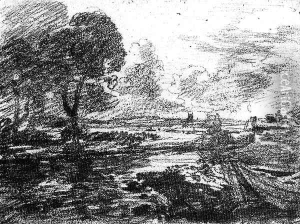 View of a Winding River Oil Painting - John Constable