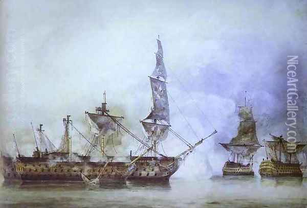His Majesty's Ship Oil Painting - John Constable
