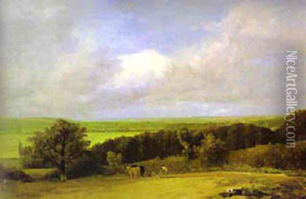 Landscape Ploughing Scene In Suffolk (A Summerland) 1814 Oil Painting - John Constable