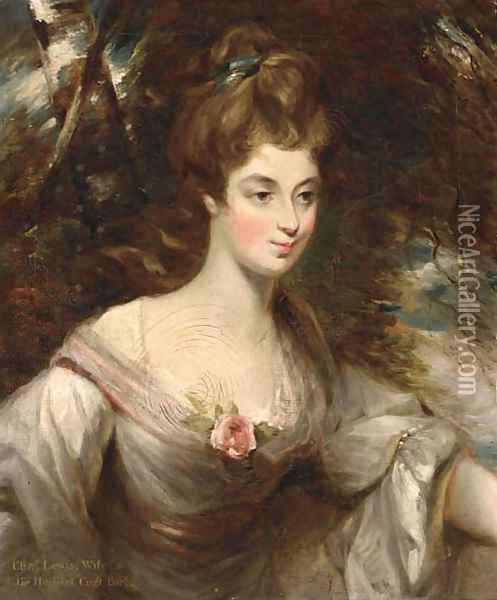 Portrait of Elizabeth, Lady Croft, half-length, in a white dress with a pink sash, in a wooded landscape Oil Painting - John Constable