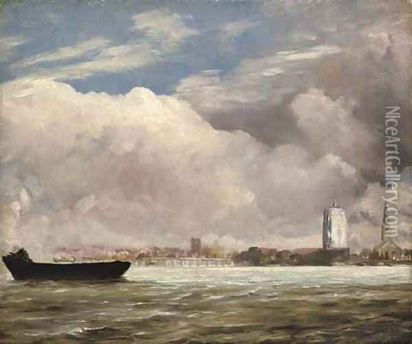 View on the Thames near Battersea Bridge, with Chelsea beyond, London Oil Painting - John Constable