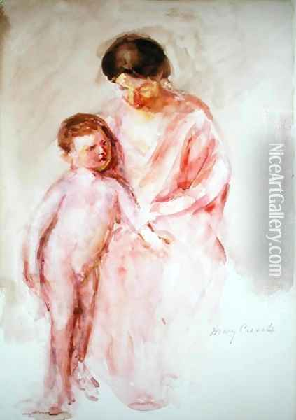 Woman with a Nude Boy at her Side Oil Painting - Mary Cassatt